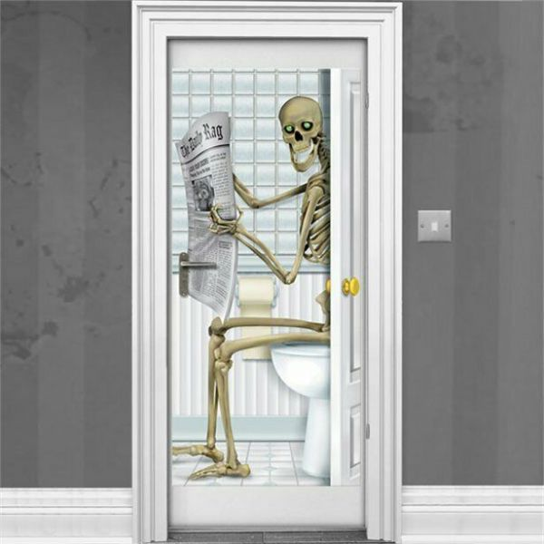 Halloween Skeleton Bathroom Door Decoration - 1.5m